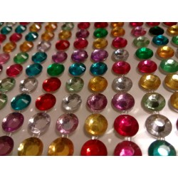 Samolepící akrylové diamanty barevné, 5mm, 504 ks
