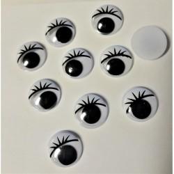 Očíčka plastová s řasami, 18 mm