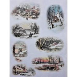 Rýžový papír, Zasněžené zimní domečky, A4