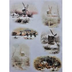 Rýžový papír, Zasněžené větrné mlýny, A4