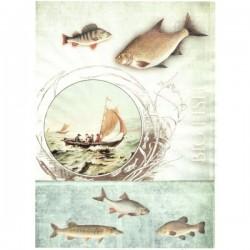 Rýžový papír A4 ryby a plachetnice s nápisem Big fish 21x29,7 cm