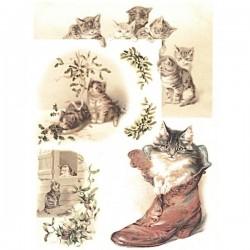 Rýžový papír A4 koťátka se jmelím a koťátko v botě 21x29,7 cm