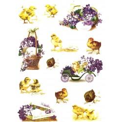 Rýžový papír, Kuřátka, košíček fialek, A4