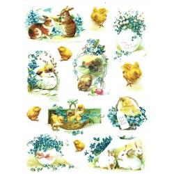 Rýžový papír, Kuřátka, zajíčci, košíky s pomněnkami, A4