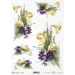 Rýžový papír Narcisy a fialky