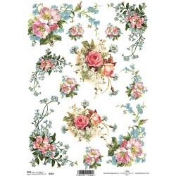 Rýžový papír Růže a pomněnky rohové