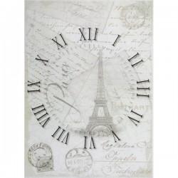 Rýžový papír A4 Hodiny, Eiffelovka, Paris, razítka 21x29,7 cm