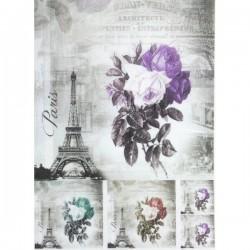 Rýžový papír A4 5 čtverců s různě barevnými růžemi a Eiffelovkou 21x29,7 cm