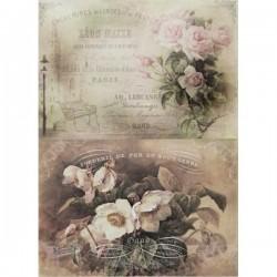 Rýžový papír A4 dva obrázky, anemonky a růže 21x29,7 cm