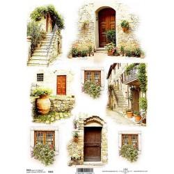 Rýžový papír Dveře, okna a schody