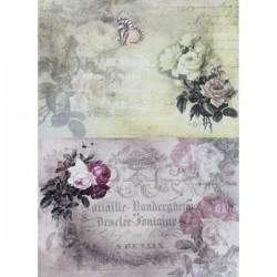 Rýžový papír A4 dva obrázky - béžový a růžový, růžičky, motýlek,  21x 29,7 cm