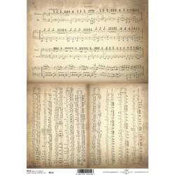 Rýžový papír Notový záznam na starém papíře