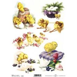 Rýžový papír Kuřátka a květináč