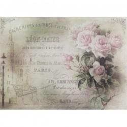 Rýžový papír A4 světle růžové růžičky, francouzština, věžička 21x29,7 cm