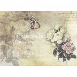 Rýžový papír A4 růže, motýl a písmo 21x29,7 cm