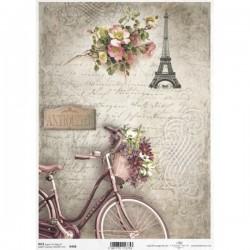 Rýžový papír A4 jízdní kolo, Eiffelovka, květiny 21x29,7 cm