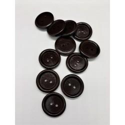 Knoflík dřevěný, tmavě hnědý, průměr 2,5 cm