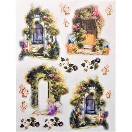 Rýžový papír,  Květinová okénka a vrátka, A4
