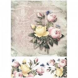 Rýžový papír A4 Kytice růží na historické faktuře 21x29,7 cm