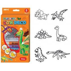 Slupovací sada, Dinosauři, 6 barev 10,5 ml + 6 sklíček