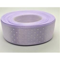 Stuha saténová puntíkatá lila šířka 2,5 cm