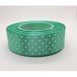 Stuha saténová puntíkatá barva mátová šířka 2,5 cm