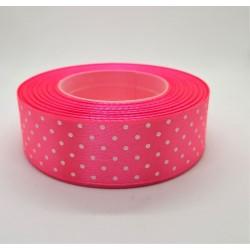 Stuha saténová puntíkatá neonově růžová, šířka 2,5 cm