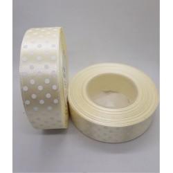 Stuha saténová krémová puntíkatá šířka 2,5 cm
