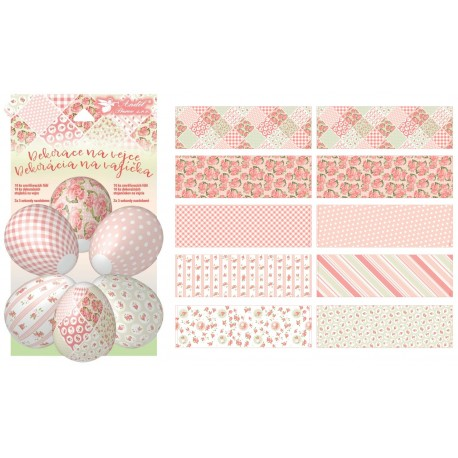 Smršťovací dekorace na vejce s puntíky, 10 ks, 10 stojánků