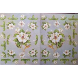 Dekupážní papír Bílé květy 33 x 48 cm