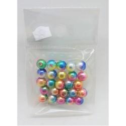 Korálky plastové duhové 25 kusů 0,7 cm průměr