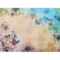 Rýžový papír ptáčci s květinkami A4