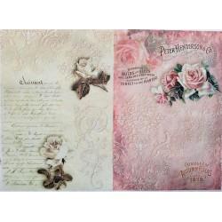 Rýžový papír Růže na vintage pozadí A4