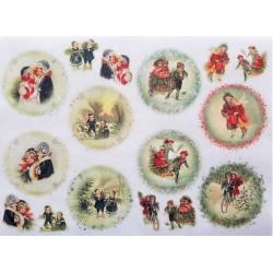 Rýžový papír Děti retro v kruzích A4