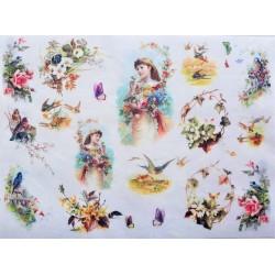 Rýžový papír Dívenka s květinkami A4
