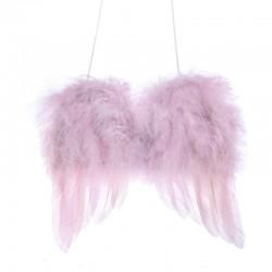 Andělská křídla na zavěšení růžová šířka 12 cm