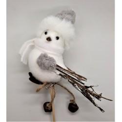 Ptáček zápich s šedou čepičkou a šálou