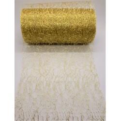 Aranžovací tkanina fibre zlatá 12 cm x 9,1 m