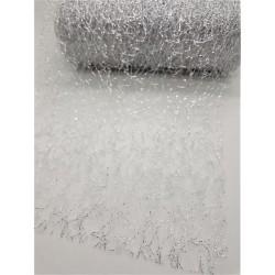 Aranžovací tkanina fibre stříbrná 12 cm x 9,1 m