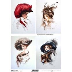 Rýžový papír Dámy v kloboucích a kabátcích A4