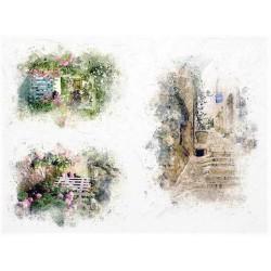 Rýžový papír Květinová okénka s plotem A4