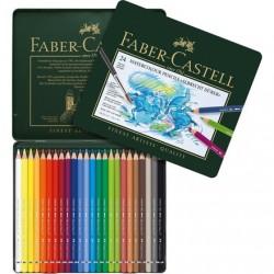 Akvarelové umělecké pastelky 24 kusů v kovové kazetě Faber Castell