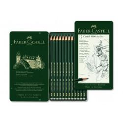 Grafitové tužky sada Faber Castell 12 kusů v kovové kazetě