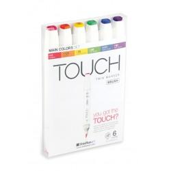 Touch Twin Marker Brush sada štětečkových oboustranných fixů 6 kusů