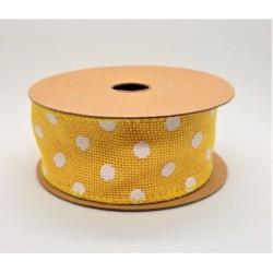 Juta stuha s drátkem barva žlutá - bílý puntík 4 cm x 6,4 m