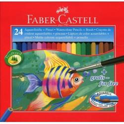Pastelky akvarelové 24 kusů v kartonové krabičce + štětec Faber Castell