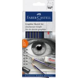 Grafitové tužky sada 6 kusů + pryž + ořezávátko Faber Castell