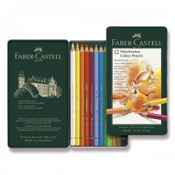 Pastelky umělecké Polychromos 12 kusů v kovové kazetě Faber Castell