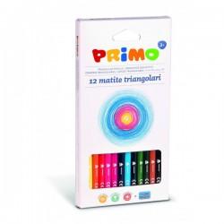 Pastelky trojboké 12 kusů + ořezávátko Primo