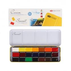 Akvarelové barvy v kovovém boxu 21 kusů Sonnet Nevskaya Palitra